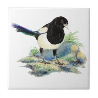 Watercolor Magpie Bird Wildlife Art Ceramic Tile