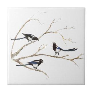 Watercolor Magpie Family Birds in Tree Ceramic Tile