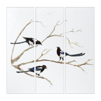 Watercolor Magpie Family Birds in Tree Triptych