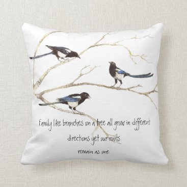 countrymousestudio Watercolor Magpie Family Quote Animal Nature Throw Pillow