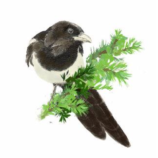 Watercolor Magpie, Garden Bird Statuette