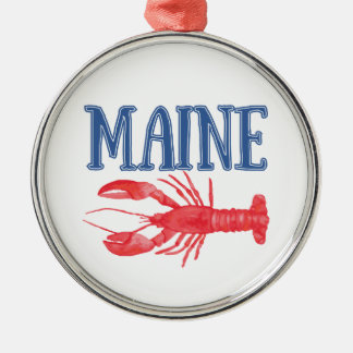 Watercolor Maine Lobster Metal Ornament