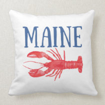 Watercolor Maine Lobster Throw Pillow