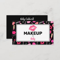 Watercolor Makeup Artist Glam Gold Pink Business C Business Card