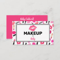 Watercolor Makeup Artist Glam Gold Pink Business Card