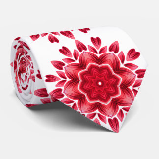 Watercolor Mandala Art - Red Rose Petals Flower Neck Tie