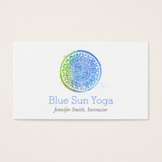 Watercolor Mandala Green/Blue Yoga and Wellness Business Card
