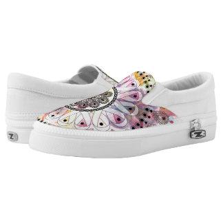 Watercolor Mandala Slip-On Sneakers