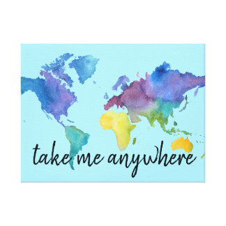 Watercolor Map Decoration with Travel Quote Canvas Print