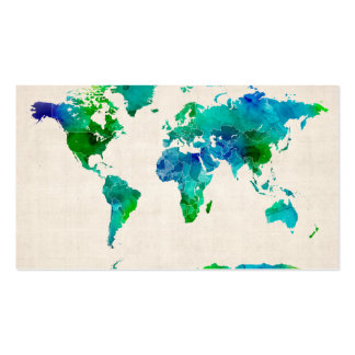 Watercolor Map of the World Map Business Card Template