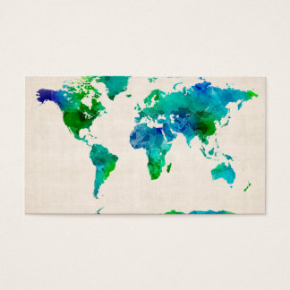 Watercolor Map of the World Map Business Card
