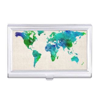 Watercolor Map of the World Map Business Card Case