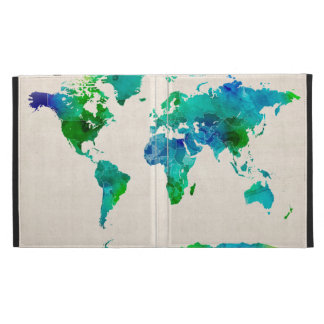 Watercolor Map of the World Map iPad Folio Covers
