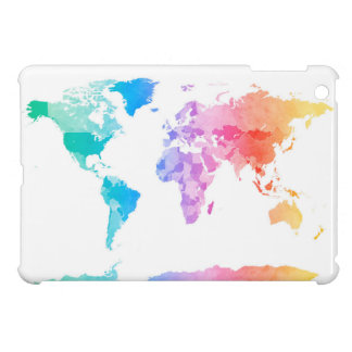 Watercolor Map of the World Map Cover For The iPad Mini