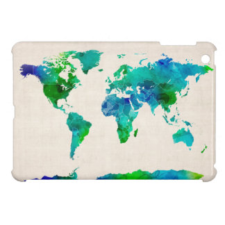 Watercolor Map of the World Map iPad Mini Covers