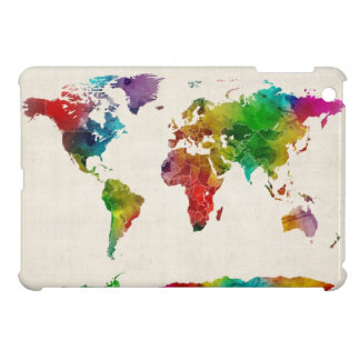 Watercolor Map of the World Map iPad Mini Cases