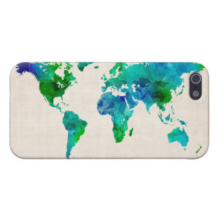 Watercolor Map of the World Map iPhone SE/5/5s Cover