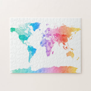 World map jigsaw puzzles zazzle watercolor map of the world map jigsaw puzzle gumiabroncs Image collections