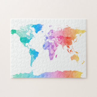 Watercolor Map of the World Map Jigsaw Puzzle