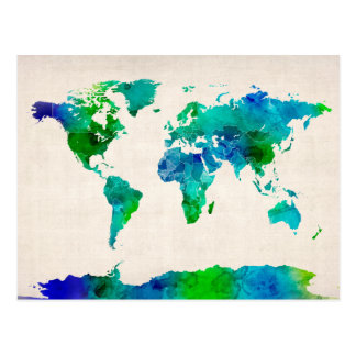 Watercolor Map of the World Map Postcard