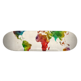 Watercolor Map of the World Map Custom Skateboard