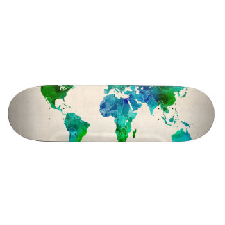 Watercolor Map of the World Map Skateboard Deck
