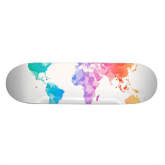 Watercolor Map of the World Map Skate Deck