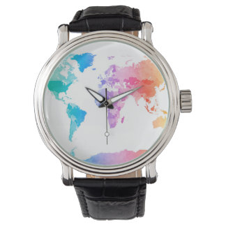 Watercolor Map of the World Map Watch