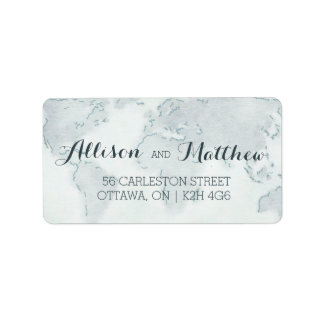 Watercolor Map Wedding Address Label