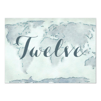 Watercolor map wedding table number