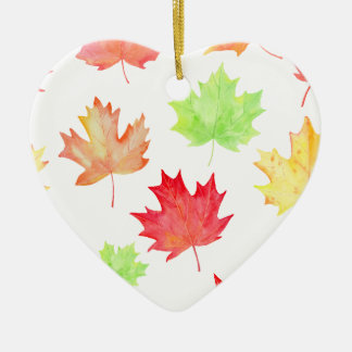 Watercolor Maple Leaf Pattern Ceramic Ornament