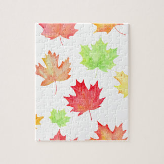 Watercolor Maple Leaf Pattern Jigsaw Puzzle