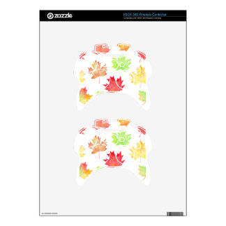 Watercolor Maple Leaf Pattern Xbox 360 Controller Skins