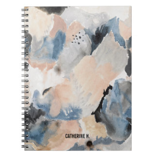 Watercolor Marble Navy and Pink Notebook