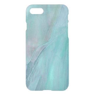 Watercolor Marble Pattern Aqua Faux Stained Glass iPhone 8/7 Case