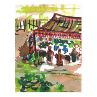 Watercolor Marketplace Postcard