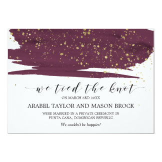 Watercolor Marsala and Gold Elopement Announcement