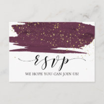 Watercolor Marsala and Gold Song Request RSVP Card