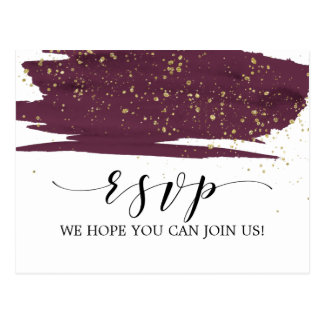Watercolor Marsala and Gold Song Request RSVP Postcard