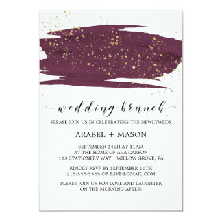 Watercolor Marsala and Gold Sparkle Wedding Brunch Card