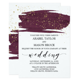 Watercolor Marsala and Gold Sparkle Wedding Card