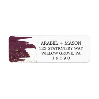 Watercolor Marsala and Gold Sparkle Wedding Label