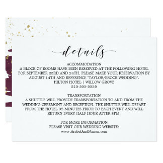 Watercolor Marsala and Gold Wedding Details Card