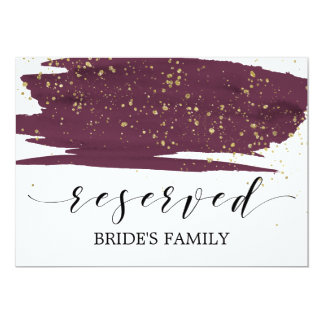 Watercolor Marsala and Gold Wedding Reserved Sign Card