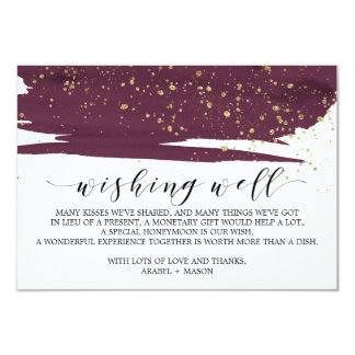 Watercolor Marsala and Gold Wedding Wishing Well Card