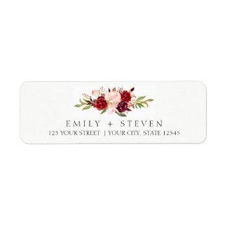 watercolor marsala floral autumn wedding label