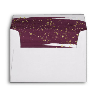 Watercolor Marsala & Gold Lined Wedding Invitation Envelope