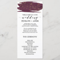 Watercolor Marsala & Gold Sparkle Wedding Program