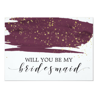 Watercolor Marsala Gold Will You Be My Bridesmaid Card