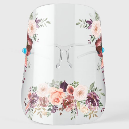 Watercolor Marsala Pink Plum Fall Floral Face Shield